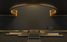 Empty Round Room With A Hole On The Ceiling, 3d Rendering.