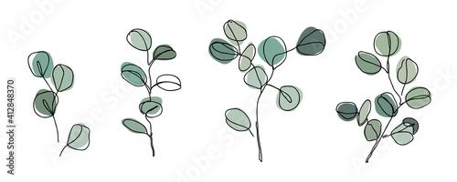 Tela Set of Eucalyptus branches in modern single line art style