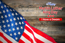 American Flag With Martin Luther King Day Text