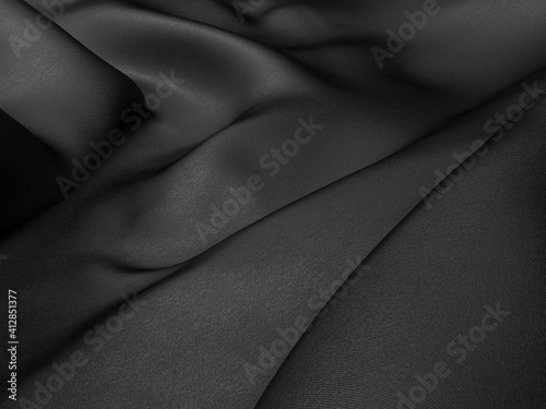 Abstract background luxury cloth waves. dark wavy soft wrinkled fabric