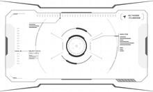 VR HUD Digital Futuristic Interface Cyberpunk Screen Design On White Background. Sci-fi Virtual Reality Technology View Head Up Display. Digital Technology GUI UI Dashboard Panel Vector Illustration