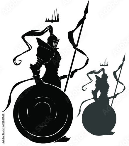 Photo A black silhouette of a knight with a long spear on which a flag is fixed, he leans on a huge shield, a spiked crown flies over his head