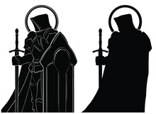 A Black Silhouette Of A Hooded Knight With A Huge Shield And Sword, Wearing Heavy Armor And A Round Halo Around His Head. 2d Illustration.
