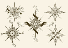 Collection Of Vintage Nautical Compass. Old Design Elements For Marine Theme And Heraldry. Hand Drawn Wind Roses