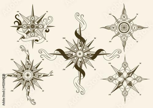 Carta da parati Collection of vintage nautical compass