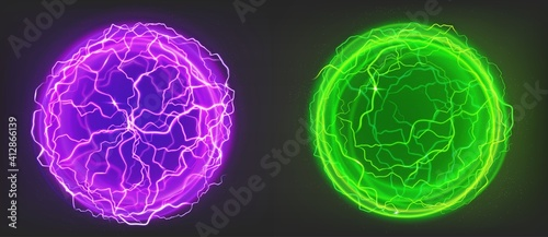Fotografering Electric balls, spheres of purple and green colors