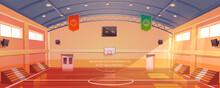 Basketball Court With Hoop, Tribune And Scoreboard