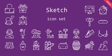 Sketch Icon Set. Line Icon Style. Sketch Related Icons Such As Barrel, Pants, Large, Sneakers, Draw, Lemonade, Girl, Boy, Crayons, Pencil Case, Unlocked, Heart, Bra,