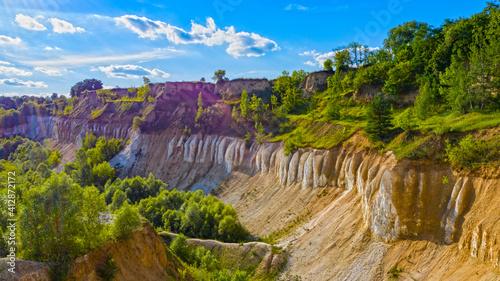 Fototapeta Beautiful summer landscape old chalk quarry. Nature landscape with old chalk quarry. Beautiful hilly. obraz