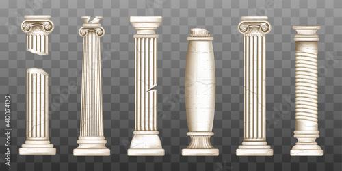 Fototapeta Ancient broken greek columns, baroque pillars