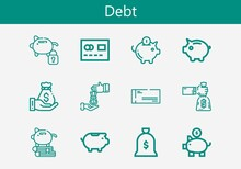 Premium Set Of Debt Line Icons. Simple Debt Icon Pack. Stroke Vector Illustration On A White Background. Modern Outline Style Icons Collection Of Loan, Piggy Bank, Cheque, Money Bag, Mastercard