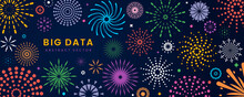 Bright Graphic Fireworks On The Night Sky Set Of Drawn Abstract Fireworks With Place For Text.