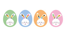 Set Of Funny Characters Of Bunnies In Easter Eggs With Ornament