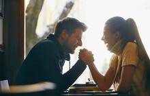 Couple Enjoying Coffee. Romantic Dinner In Valentine's Day