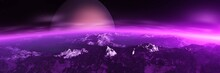Beautiful Alien Landscape, Panorama Of Another Planet At Sunset, 3D Rendering