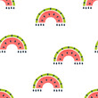 Watermelon rainbow seamless vector pattern. Fruity arch green and red nursery illustration. Juicy Summer baby backdrop design for fabric apparel print