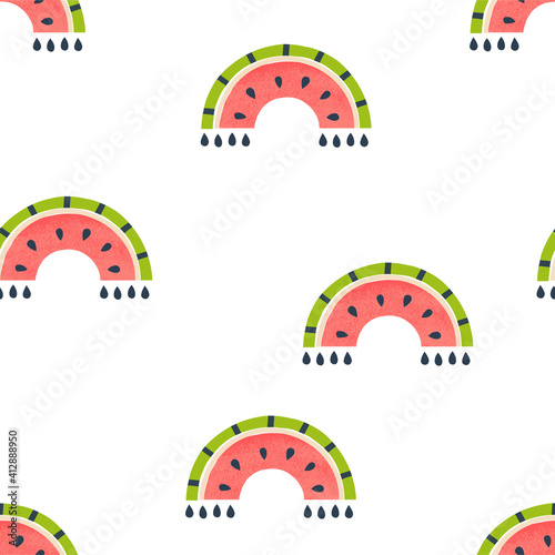 Fotografija Watermelon rainbow seamless vector pattern