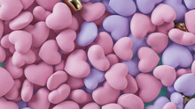 Multicolored Heart Background. Valentine Wallpaper With Pink And Violet Love Hearts. 3D Render