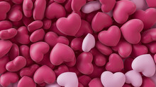 Multicolored Heart Background. Valentine Wallpaper With Light Pink And Dark Pink Love Hearts. 3D Render