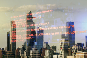 Multi exposure of abstract graphic coding sketch on Manhattan cityscape background, big data and networking concept