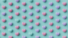 Multicolored Heart Background. Valentine Wallpaper With Pink, Violet And Turquoise Love Hearts. 3D Render