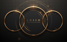 Abstract Golden Rings Background With Glow Effect