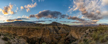 Panorama Landscape Of The Sunrise In The Tabernas Desert And Mountains In Southern Spain