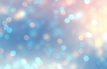Bokeh Soft Blue Pink Empty Background. Holiday Blurred Texture. Winter Sparkles Abstract Illustration. Glitter Defocused Pattern.