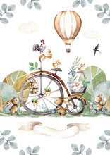 Happy Easter Animals Bunny And Vintage Bike With Full Basket Of Flowers. Hand Painting Isolated Watercolor Easter Illustration Card