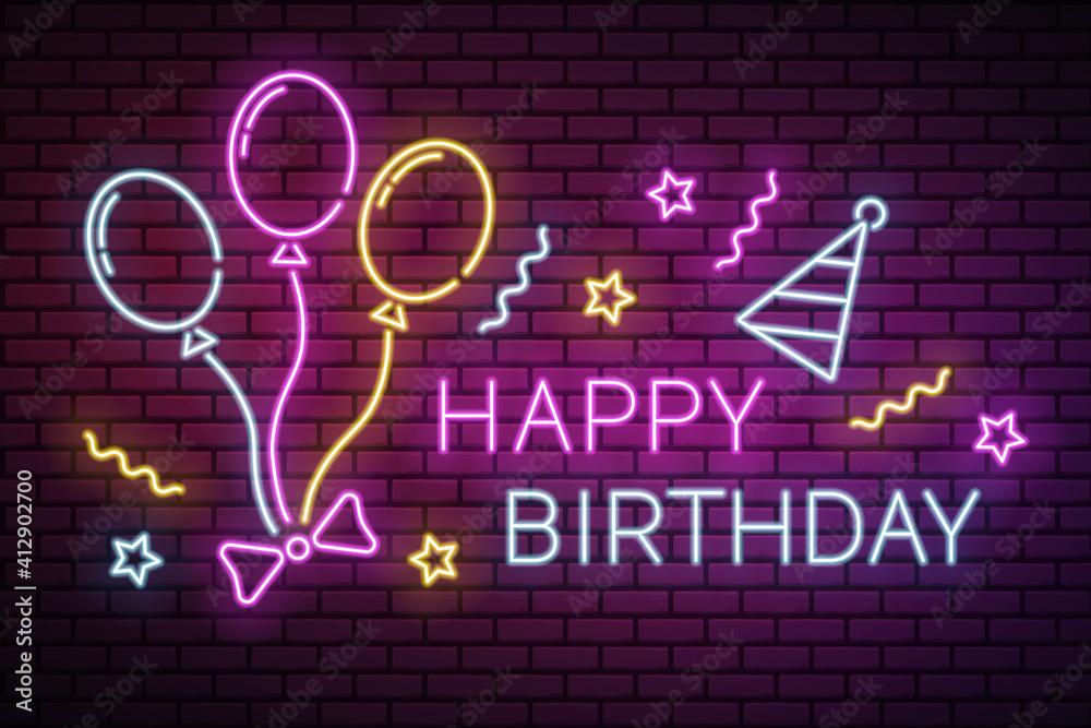 Fototapeta Neon happy birthday vector illustration with balloons