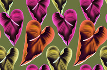Pattern Contemporary Tropical Flowers And Leaves Seamless.