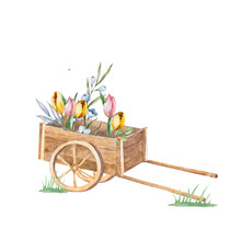 Gardening Cart With Flowers. Hand Drawn Watercolor Isolated On White Background