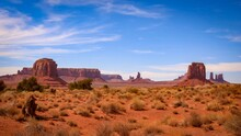 Scenic View Of Monument Valley And Landscape Against Sky