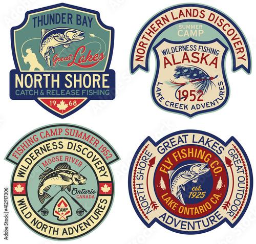 Carta da parati Alaska and Canada fly fishing sport badges vintage vector label collection