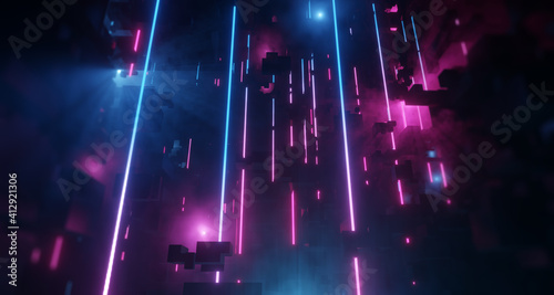 Fototapeta Vertical Neon tubes reflecting City with Light Tech abstract background. Bright Pink and Blue Neon lens flares, misty environment. 3D render obraz
