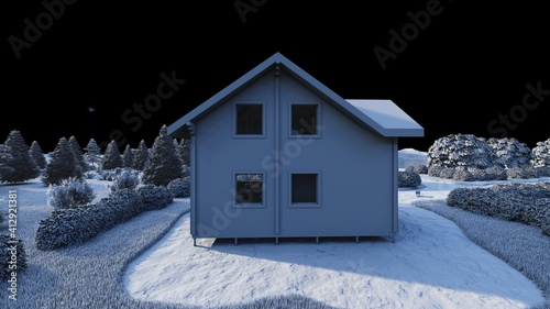Tablou Canvas Wooden cottage, villa, house, tiny house made of wooden blocks on the background of the hills