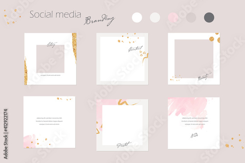 Obraz Instagram social media branding template, Instagram feed mockup in pink pastel and gold colors. for beauty salon, cosmetics, fashion, jewelry, content creators - fototapety do salonu
