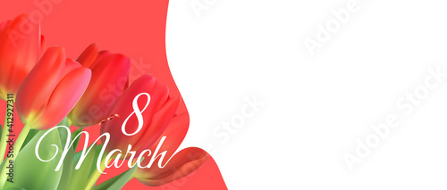 8 March sale banner with tulip Background Design. Template for advertising, web, social media and fashion ads. Poster, flyer, greeting card, header for website Copy space vector illustration EPS10 © yganko