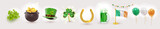 Big set of St. Patrick's Day realistic symbols. Irish holiday consisting of pot of gold coins, green hat, golden brooch clover, flag, balloons, horseshoe. Design elements. Vector illustration.