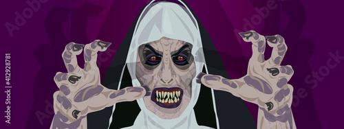 Fotografie, Obraz Nun nurse Halloween costume possessed by the demon