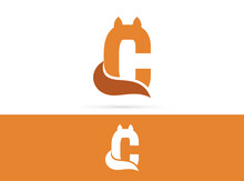 Letter C Cat Logo Design. Vector Combination Of Animals And Letter