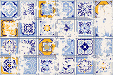 Seamless Vintage Pattern With An Effect Of Attrition. Patchwork Carpet. Hand Drawn Seamless Abstract Pattern From Tiles. Azulejos Tiles Patchwork. Portuguese And Spain Decor.