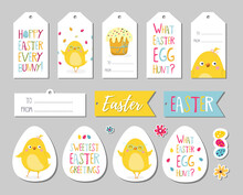 Set Of Easter Gift Tags, Scrapbooking Elements, Labels, Badges With Cute Chicken And Lettering . Easter Greeting Stickers With Bunny, Flowers, Eggs.