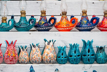 Traditional Handmade Kerosene Lamps, Vases And Candle Holders Sold In Front Of The Store.
