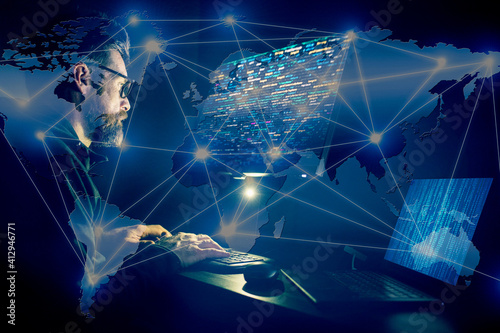 hacker coding at night cybersecurity concept Fototapet