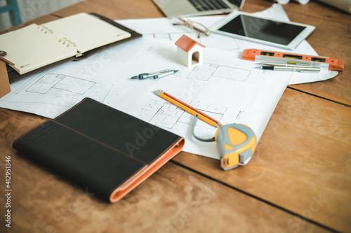 Fototapeta High Angle View Of Office Supplies On Desk obraz