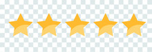 Vector Golden Isolated Five Stars. Customer Feedback. Vector 5 Stars Rating Review.