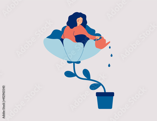 Fototapeta A happy woman sits in the flower and waters it. Smiling girl cares about herself and her future. Concept of love yourself and a healthy lifestyle. Vector illustration. obraz