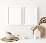 Mock up frame close up in home interior background, Boho style, 3d render
