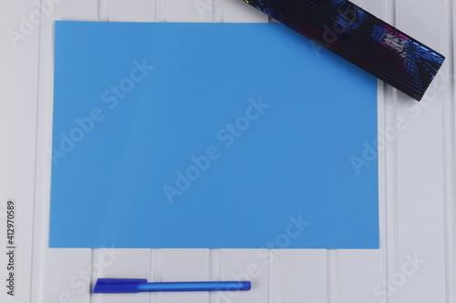 Obraz Kartka niebieska arkusz - fototapety do salonu